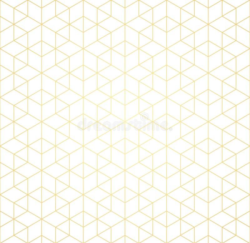 Il modello geometrico di intersezione allinea su un fondo bianco Pendenza dorata Priorità bassa astratta per il vostro disegno Ve illustrazione vettoriale