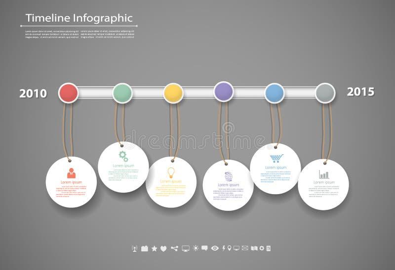 Il modello infographic di cronologia con le icone ha messo per progettazione di affari royalty illustrazione gratis