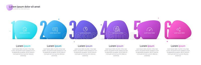Il modello infographic di vettore composto di sei ha numerato le forme astratte royalty illustrazione gratis