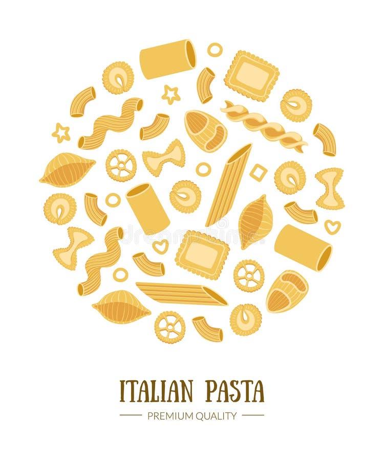Il modello italiano dell'insegna della pasta con differenti tipi di paste tradizionali di forma rotonda può essere utilizzato per illustrazione di stock
