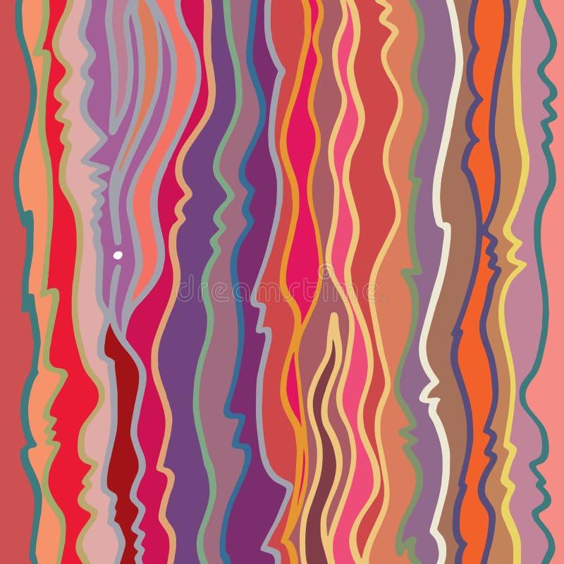 Il modello lineare variopinto decorato, in base alla spazzola manualmente disegnata allinea royalty illustrazione gratis