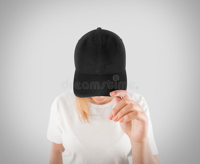 Il modello nero in bianco del modello del berretto da baseball, usura sulle donne si dirige fotografie stock libere da diritti