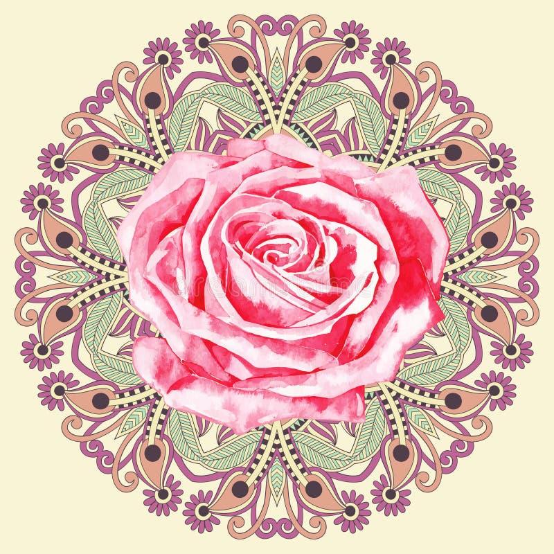 Il modello ornamentale del cerchio con l'acquerello è aumentato illustrazione vettoriale
