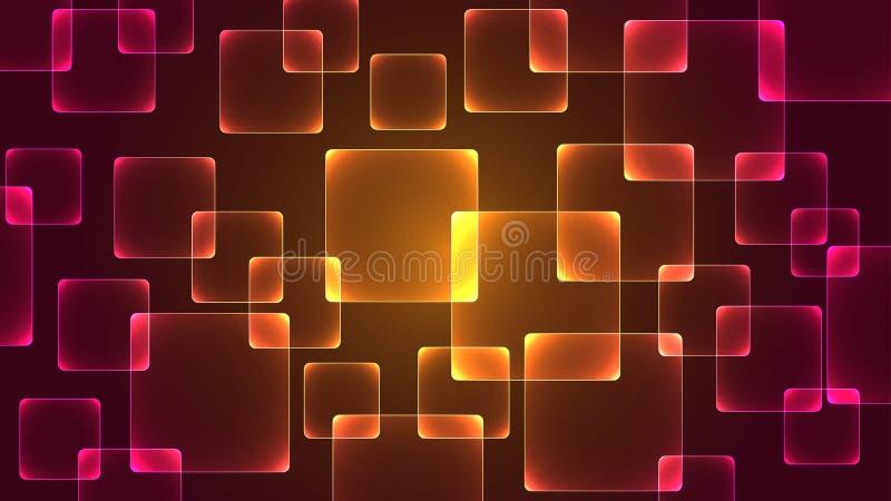 Il modello quadrato ha una luce dalla parte posteriore come fondo illustrazione di stock