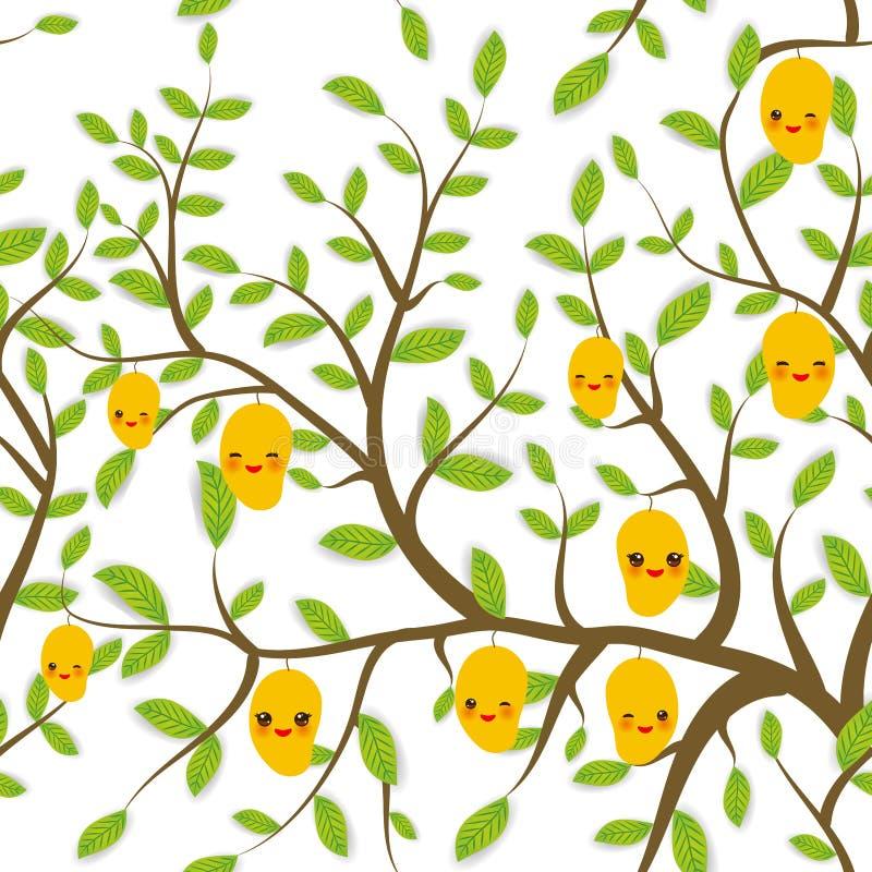 Il modello senza cuciture Brown si ramifica con le foglie verdi, mango giallo fruttifica museruola divertente di Kawaii con le gu illustrazione di stock