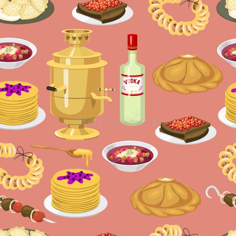 Il modello senza cuciture con cucina russa, bagel tradizionali coltiva il fondo di vettore dell'alimento Menu nazionale della Rus royalty illustrazione gratis