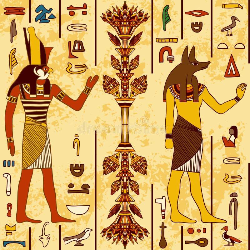 Il modello senza cuciture con i dei egiziani ed i geroglifici egiziani antichi sul lerciume ha invecchiato il fondo di carta