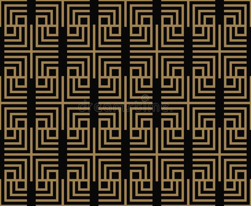 Il modello senza cuciture con i quadrati, diagonale nera dell'oro ha intrecciato le linee a strisce Vector la priorit? bassa orna illustrazione vettoriale