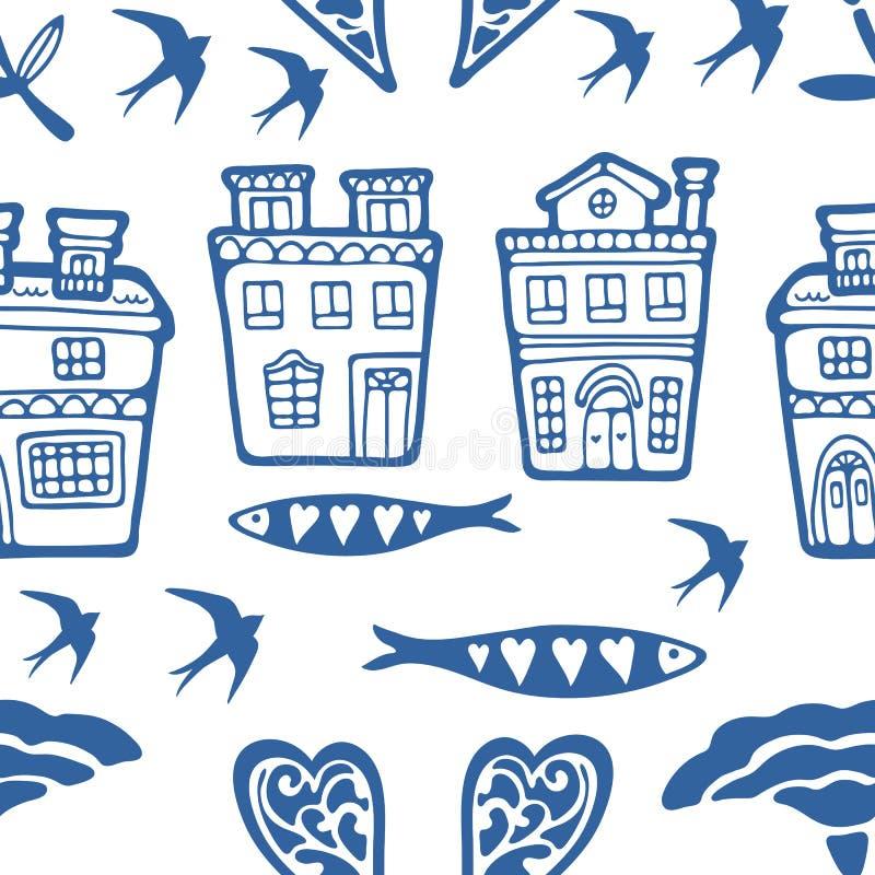Il modello senza cuciture con il Portoghese tipico alloggia i fiori ed i sorsi delle sardine illustrazione vettoriale
