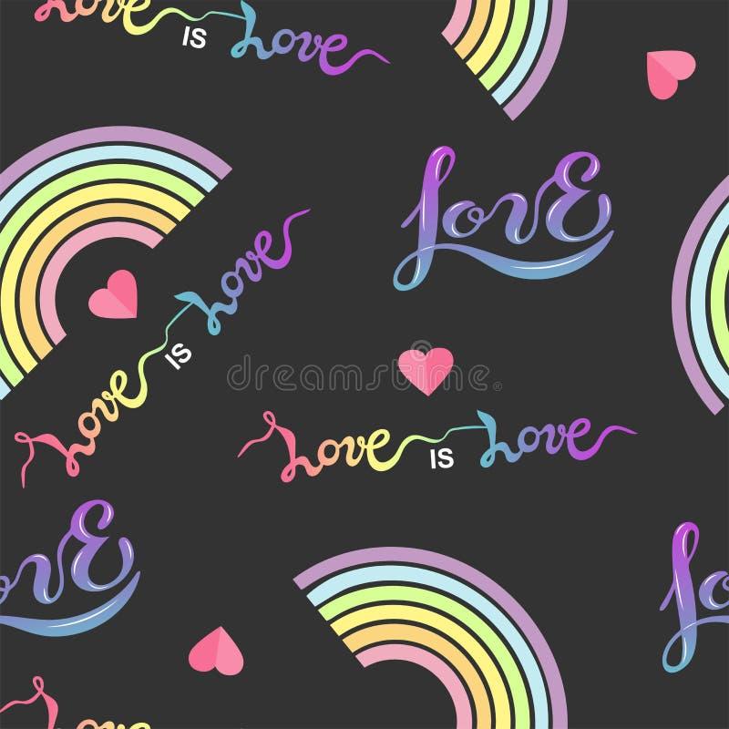 Il modello senza cuciture con l'arcobaleno, le ali, cuore, hendwritten l'amore illustrazione di stock