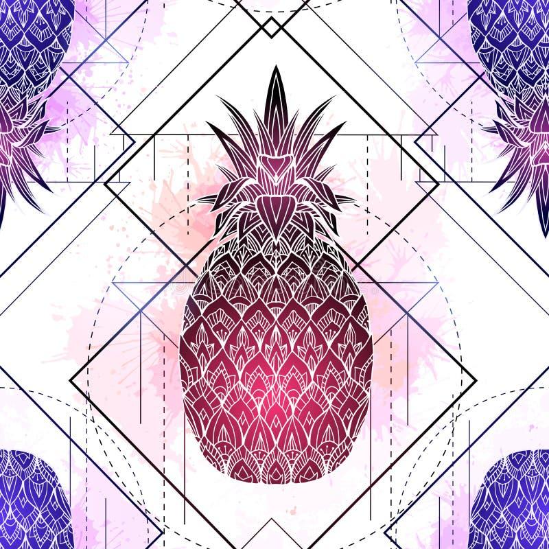Il modello senza cuciture con l'illustrazione mistica degli ananas con un disegno e un acquerello rosa di contorno spruzza Strutt illustrazione di stock