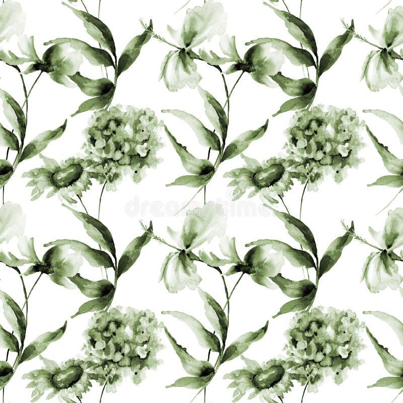Il modello senza cuciture con l'ortensia, l'ibisco e Cosmea fiorisce illustrazione vettoriale
