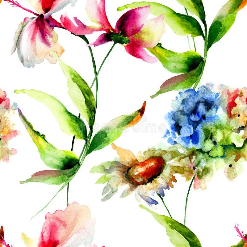 Il modello senza cuciture con l'ortensia, l'ibisco e Cosmea fiorisce illustrazione di stock