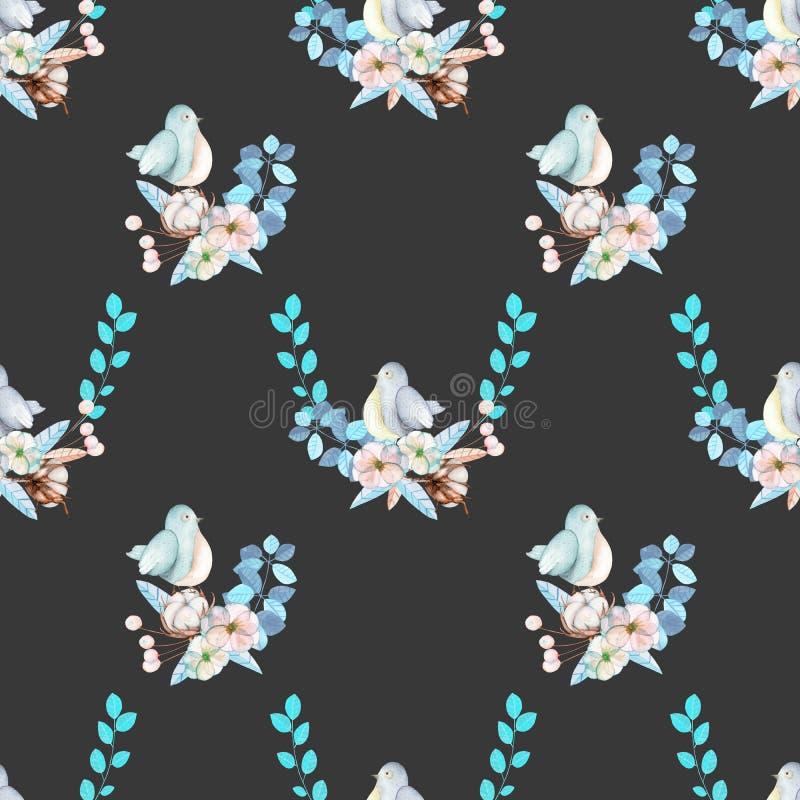 Il modello senza cuciture con l'uccello sveglio dell'acquerello, le piante blu, i fiori ed il cotone fioriscono, disegnato a mano illustrazione di stock