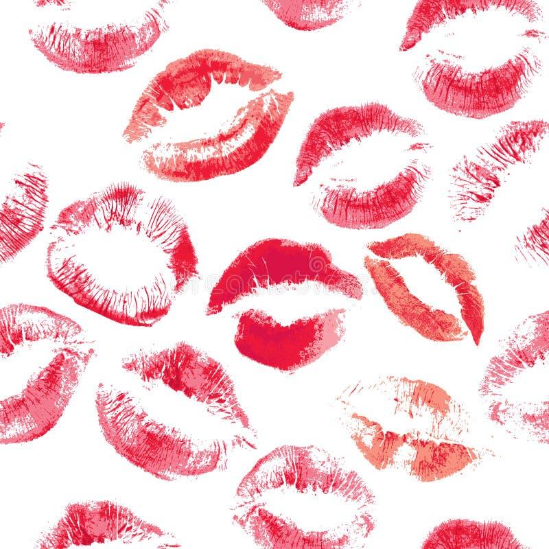 Il modello senza cuciture con le belle labbra di colori rossi stampa immagini stock