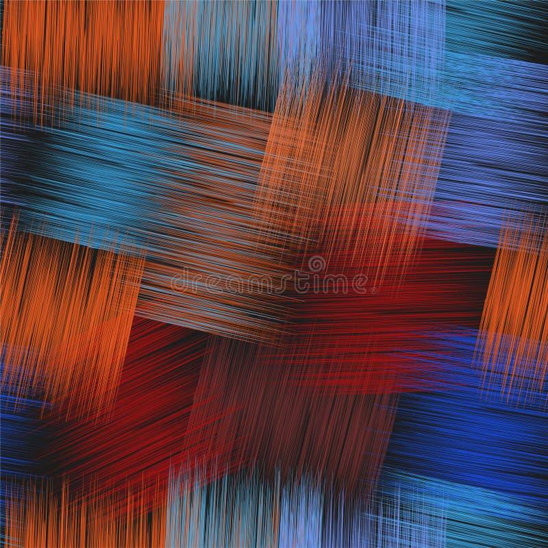 Il modello senza cuciture con il lerciume barrato interseca gli elementi rettangolari nei colori rossi, blu, arancio, neri illustrazione vettoriale