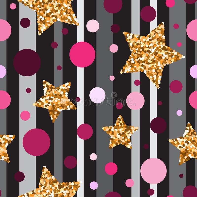 Il modello senza cuciture con scintillio dell'oro ha strutturato le stelle e il circl rosa illustrazione di stock
