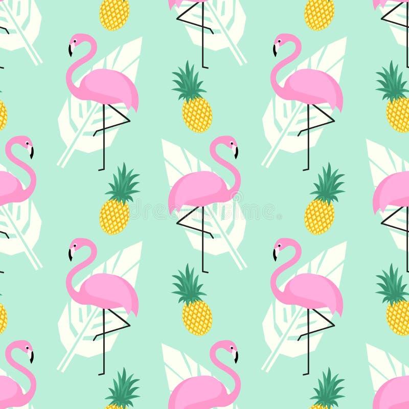 Il modello senza cuciture d'avanguardia tropicale con i fenicotteri rosa, gli ananas e le foglie di palma sulla menta si inverdis royalty illustrazione gratis