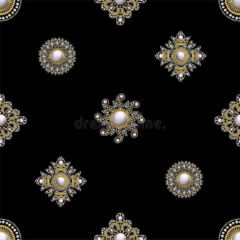 Il modello senza cuciture dal tessuto ha ricamato le toppe con gli zecchini, le perle e le perle Illustrazione di vettore illustrazione vettoriale