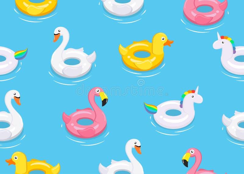 Il modello senza cuciture degli animali variopinti fa galleggiare i giocattoli svegli dei bambini su fondo blu illustrazione vettoriale