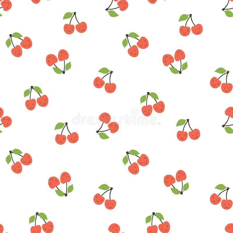 Il modello senza cuciture del bambino Ciliegia sorridente Stampa di modo della frutta Elementi di progettazione per il tessuto o  illustrazione di stock