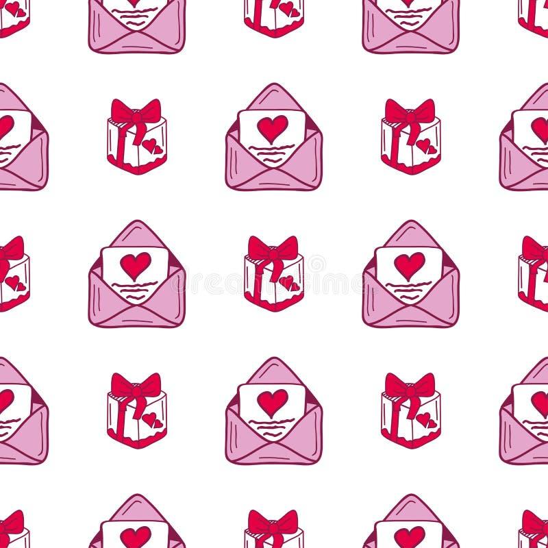 Il modello senza cuciture del cuore di vettore tagliente rosso semplice della posta ed il regalo rosa colorano la carta bella cel illustrazione vettoriale