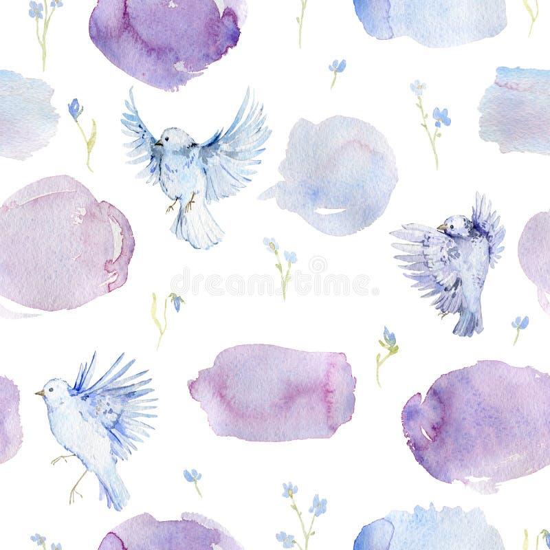 Il modello senza cuciture delicato con gli uccelli, i fiori di myosotis e l'acquerello spruzza Fondo romantico con i fiori del gi illustrazione di stock