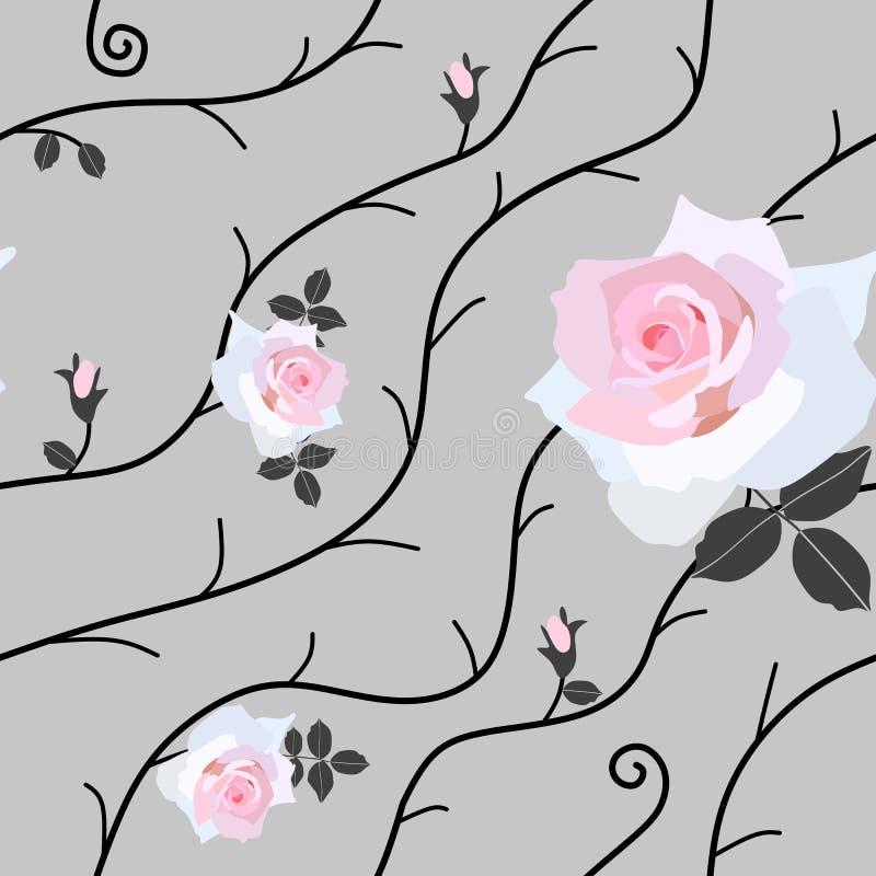 Il modello senza cuciture delicato con i rami astratti ed il bello rosa è aumentato fiori su fondo grigio nel vettore Stampa per  illustrazione di stock