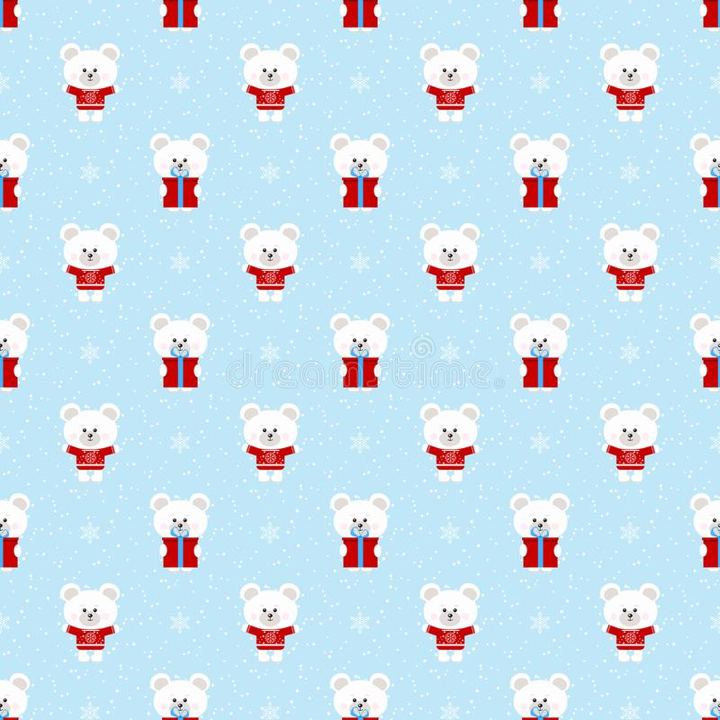 Il modello senza cuciture dell'inverno di natale di vettore con l'orso bianco polare sveglio con il regalo, fiocchi di neve orna  illustrazione di stock