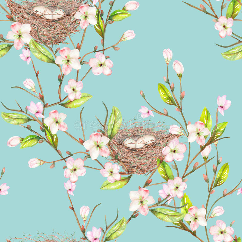 Il modello senza cuciture dell'uccello dell'acquerello annida sui rami con i fiori della molla, disegnati a mano su un fondo blu royalty illustrazione gratis