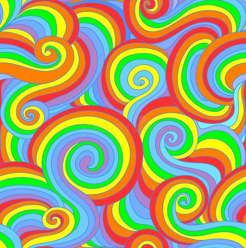 Il modello senza cuciture di bello vettore variopinto con l'arricciatura allinea nei colori dell'arcobaleno royalty illustrazione gratis