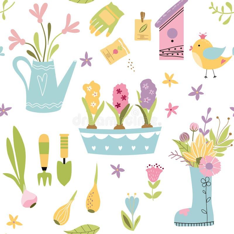Il modello senza cuciture di giardinaggio con gli strumenti di giardino disegnati a mano svegli degli elementi balza fondo nel ve royalty illustrazione gratis