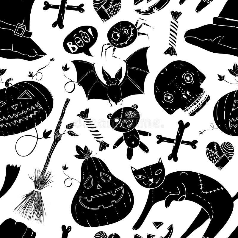Il modello senza cuciture di Halloween con il gatto, l'orsacchiotto, la zucca, la caramella, le ossa, il cranio, il cuore, il cap illustrazione vettoriale