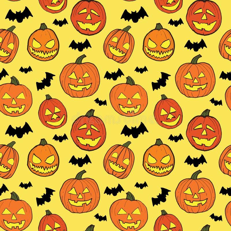 Il modello senza cuciture di Halloween con le zucche arancio ha scolpito i fronti ed i pipistrelli del nero su fondo giallo-chiar royalty illustrazione gratis