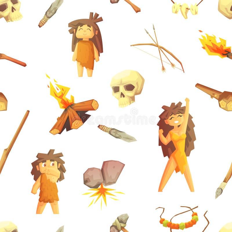 Il modello senza cuciture di Stone Age con la gente e gli strumenti preistorici di caccia, elemento di progettazione può essere u illustrazione vettoriale