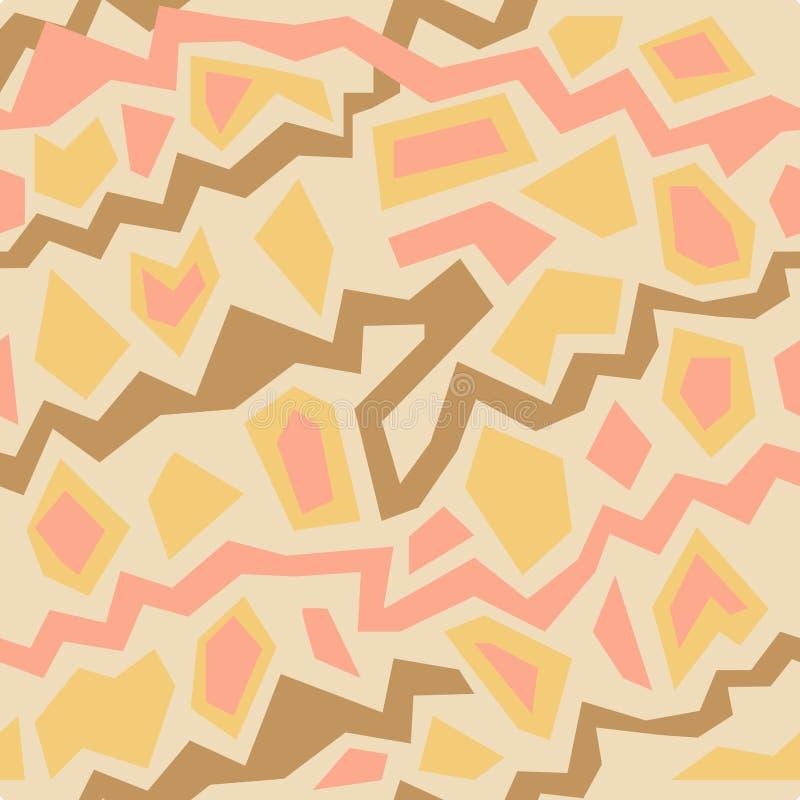 Il modello senza cuciture di vettore dell'estratto con carta gialla, arancio, rosa ha tagliato le linee di zigzag su fondo isolat royalty illustrazione gratis