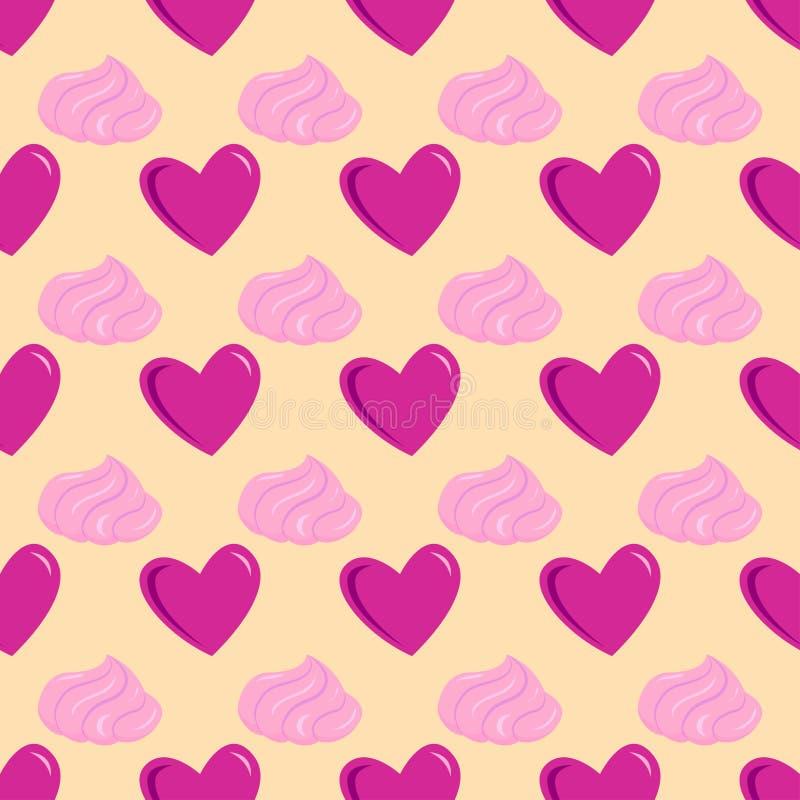 Il modello senza cuciture di vettore tagliente rosso semplice del cuore ed il colore rosa cardano bello celebrano la festa lumino illustrazione di stock