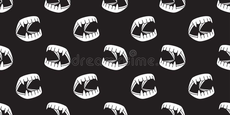 Il modello senza cuciture Dracula di Halloween ha isolato il nero della carta da parati del fondo dei denti royalty illustrazione gratis