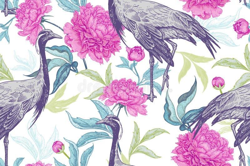 Il modello senza cuciture floreale con gli uccelli cranes e foglie e fiori illustrazione di stock