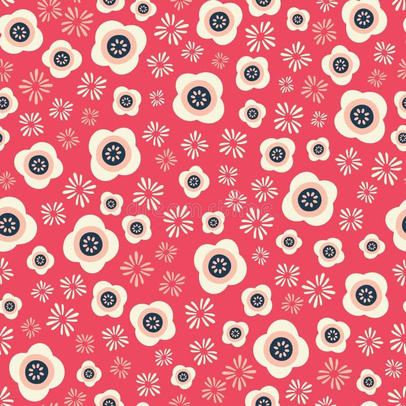 Il modello senza cuciture floreale di ripetizione, orientale ha ispirato illustrazione di stock