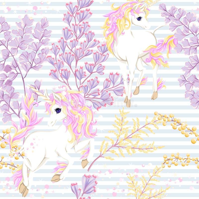 Il modello senza cuciture, il fondo con l'unicorno e l'annata fiorisce Illustrazione di vettore royalty illustrazione gratis