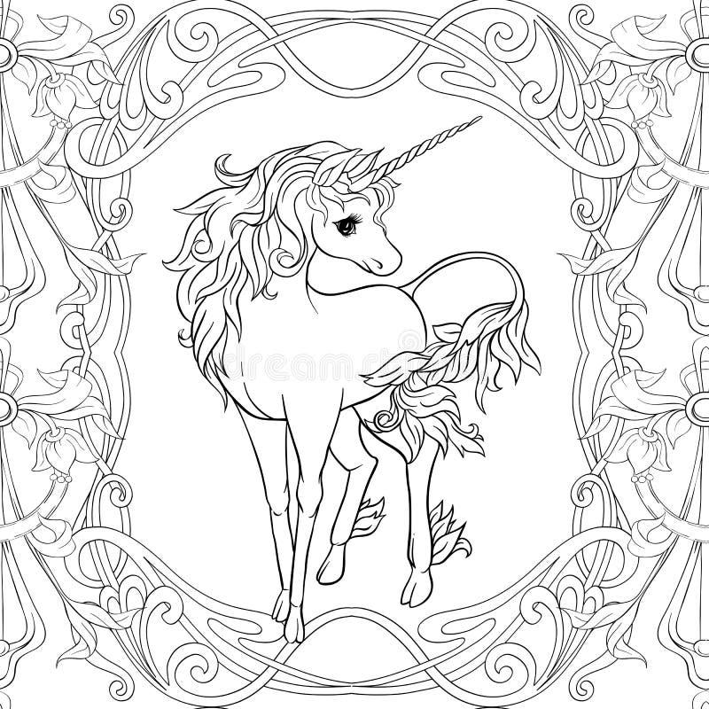 Il modello senza cuciture, il fondo con l'unicorno e l'annata fiorisce Illustrazione di vettore illustrazione vettoriale