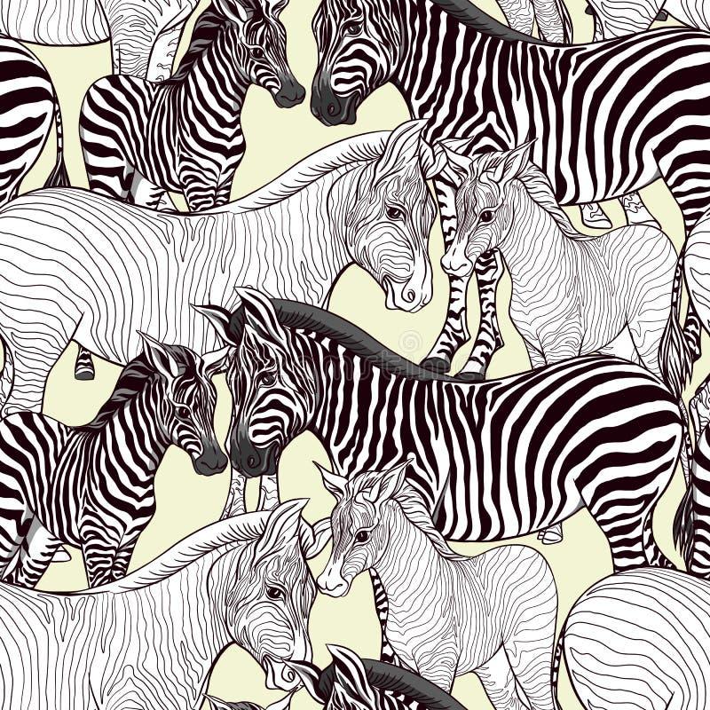Il modello senza cuciture, il fondo con la zebra adulta e la zebra figliano Illustrazione di vettore royalty illustrazione gratis