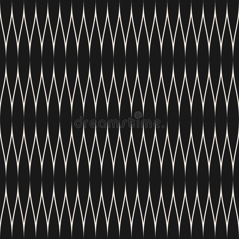 Il modello senza cuciture geometrico astratto con lo zigzag curvo allinea, bande ondulate sottili royalty illustrazione gratis
