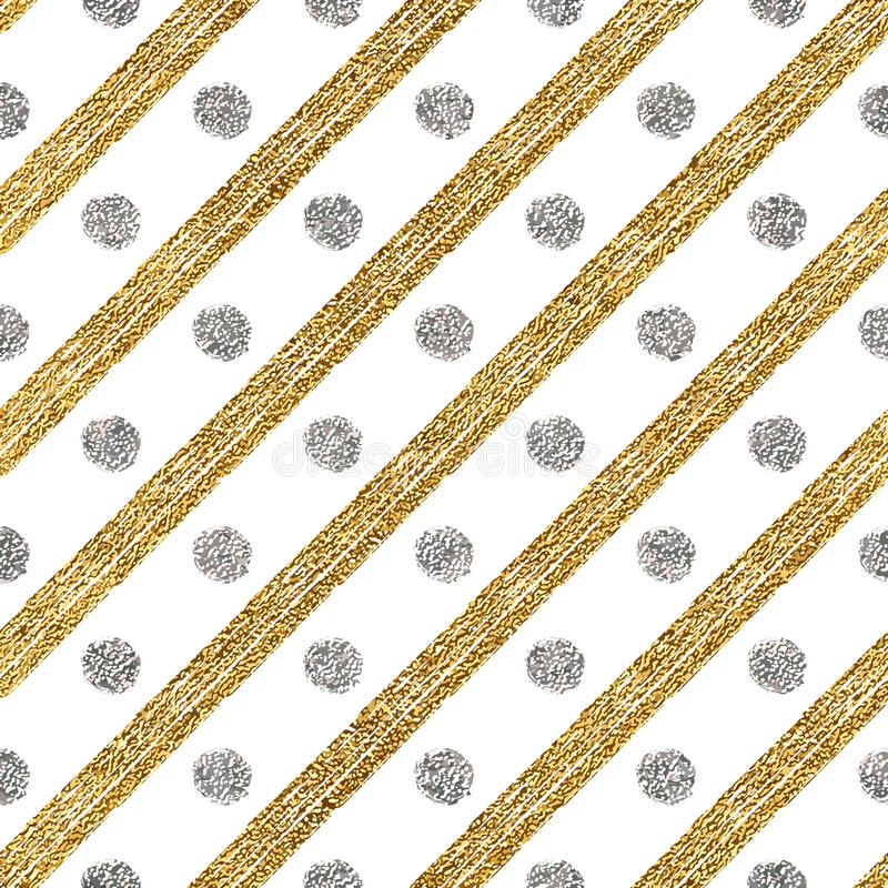 Il modello senza cuciture geometrico di scintillio dorato ed i colpi diagonali d'argento circondano royalty illustrazione gratis