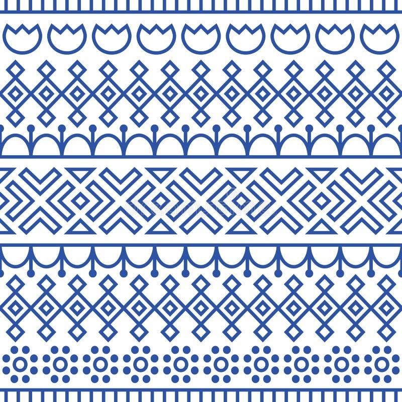 Il modello senza cuciture ha ispirato dallo scandinavo, arte di piega finlandese Fondo blu e bianco nordico Decorazione ripetuta royalty illustrazione gratis