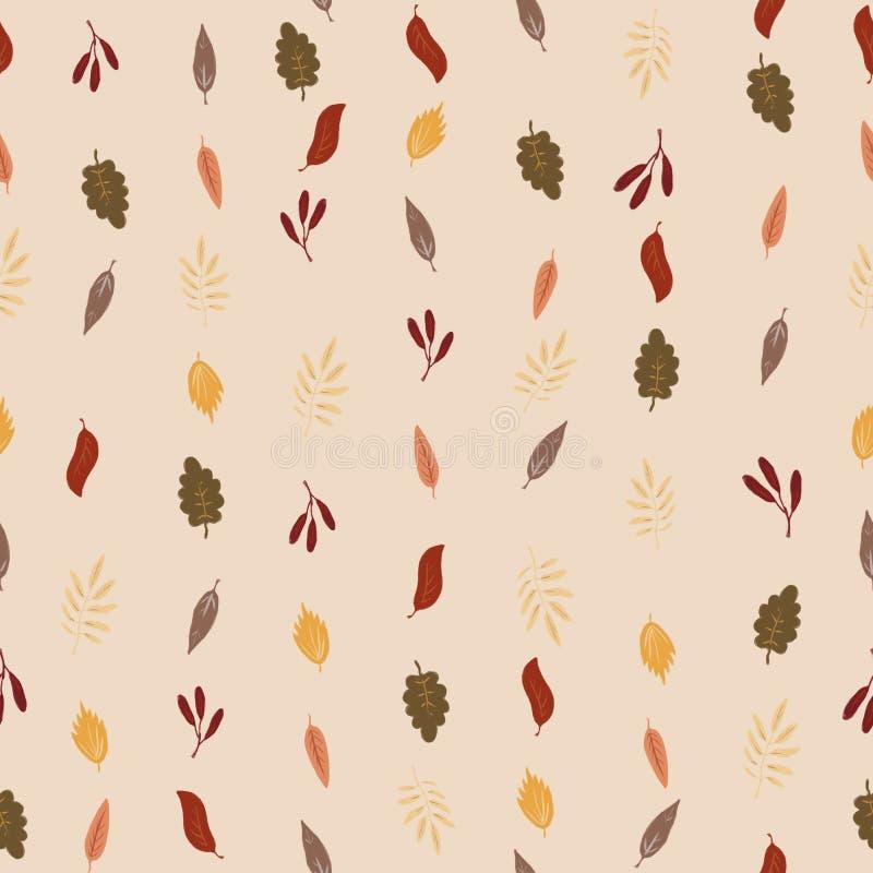 Il modello senza cuciture a partire dall'autunno caduto va su un fondo beige leggero caldo royalty illustrazione gratis