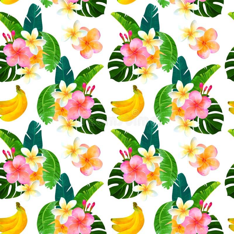 Il modello senza cuciture tropicale con il mazzo del monstera va, banana, plumeria Illustrazione alla moda della pianta Backgroun illustrazione vettoriale