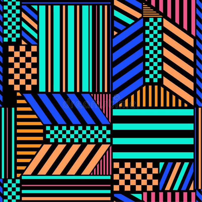 Il modello senza cuciture variopinto ad alto contrasto con i blocchetti audaci della banda si mescola con progettazione geometric royalty illustrazione gratis