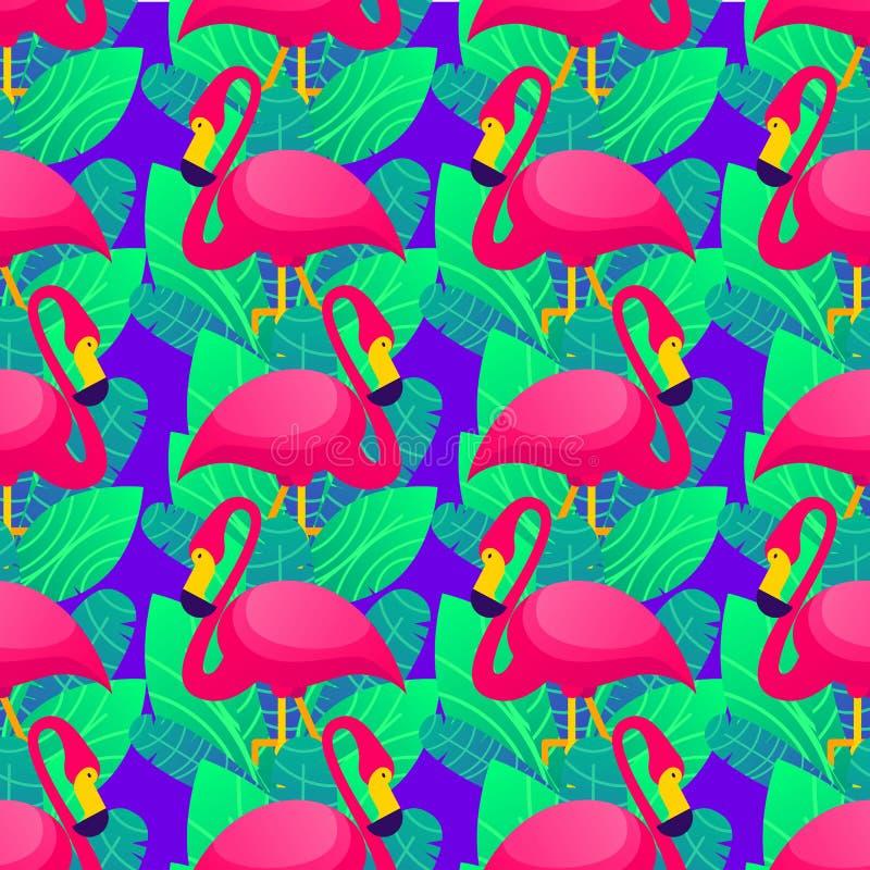 Il modello senza cuciture variopinto di vettore con il fenicottero rosa e tropicale verde rimane il fondo porpora royalty illustrazione gratis